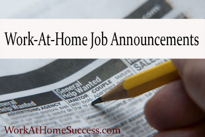 Work-At-Home Job Announcements