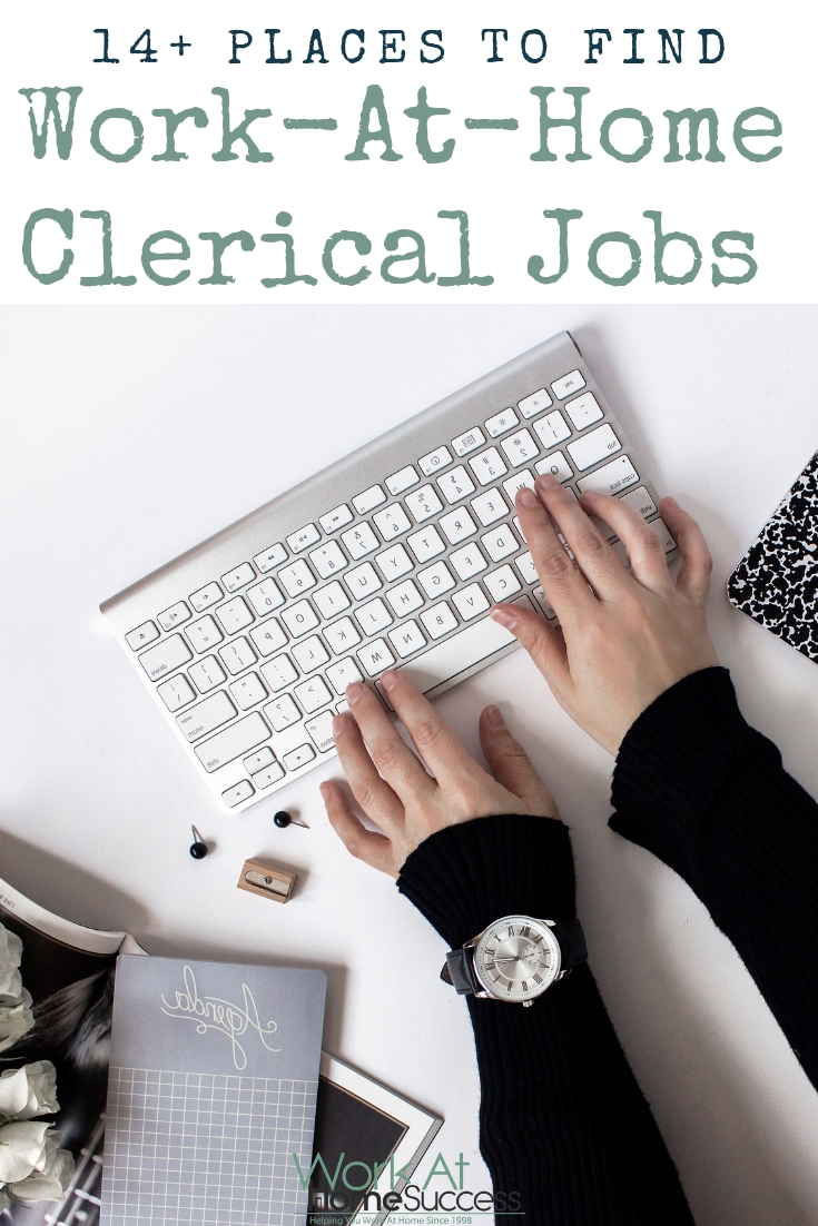 Want to work at home typing, doing data entry or other clerical work? Check out these 14 places that hire home based clerical workers. #telecommute #workathomejobs #workathome