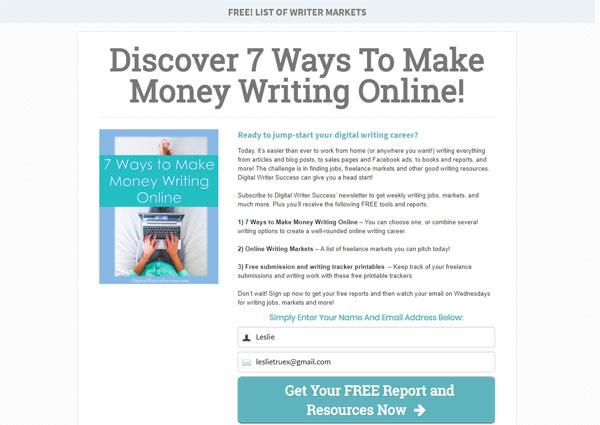 Digital Writer Success Optin Page