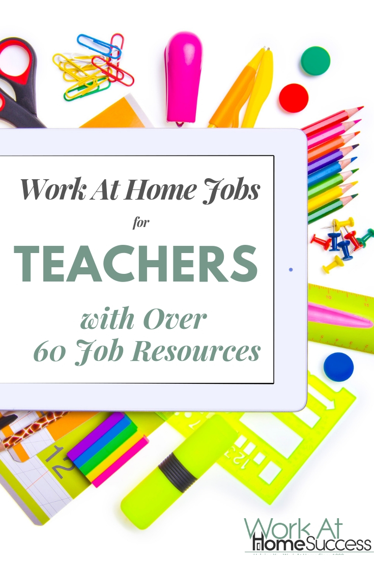 Types of work at home jobs for teachers and educators, plus a list of over 60 places to apply for virtual jobs online.  #teachingjobs #virtualteaching #workathome